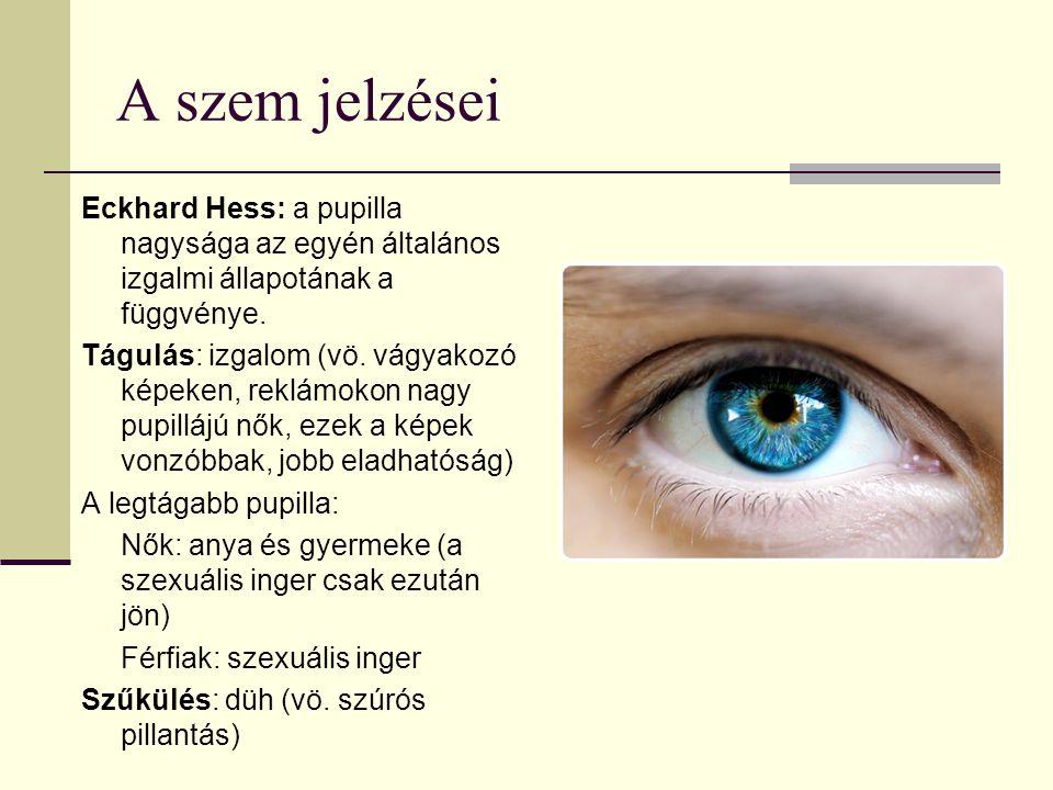 A szem jelzései Eckhard Hess: a pupilla nagysága az egyén általános izgalmi állapotának a függvénye. Tágulás: izgalom (vö. vágyakozó képeken, reklámok