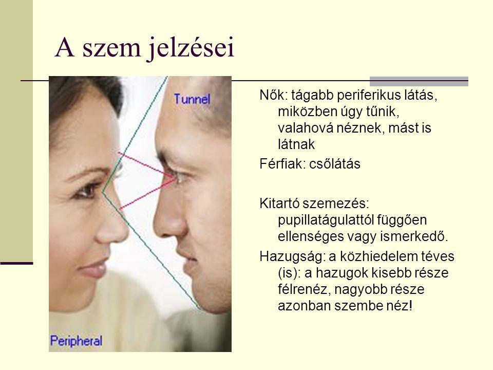 A szem jelzései Nők: tágabb periferikus látás, miközben úgy tűnik, valahová néznek, mást is látnak Férfiak: csőlátás Kitartó szemezés: pupillatágulatt