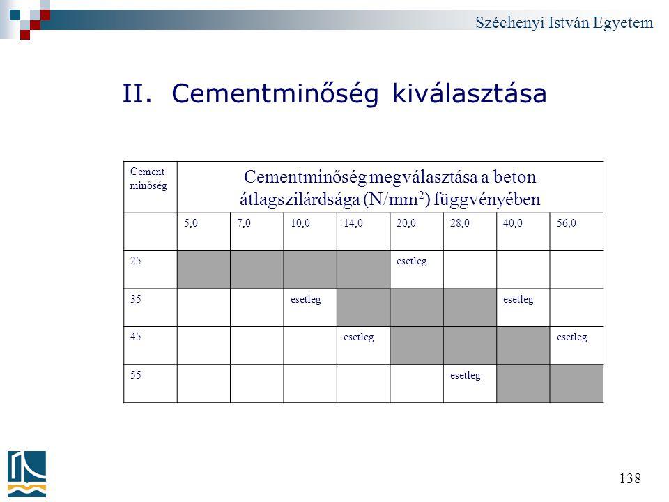 Széchenyi István Egyetem 138 II. Cementminőség kiválasztása Cement minőség Cementminőség megválasztása a beton átlagszilárdsága (N/mm 2 ) függvényében