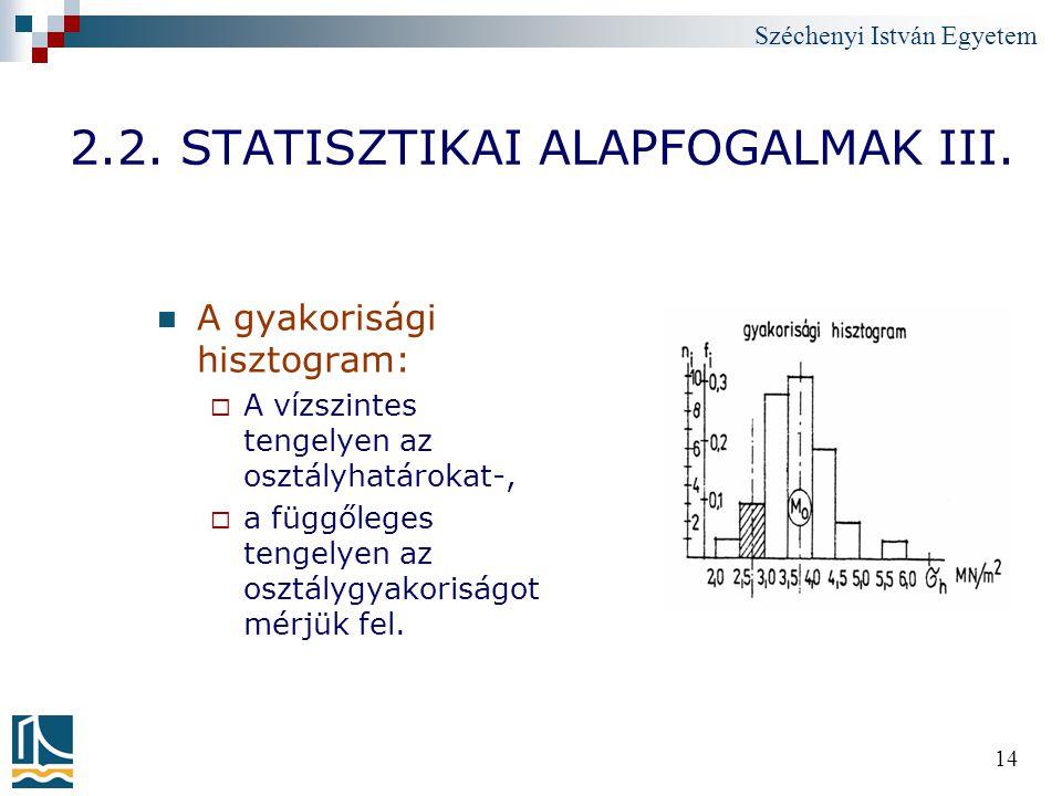 Széchenyi István Egyetem 14 2.2. STATISZTIKAI ALAPFOGALMAK III. A gyakorisági hisztogram:  A vízszintes tengelyen az osztályhatárokat-,  a függőlege