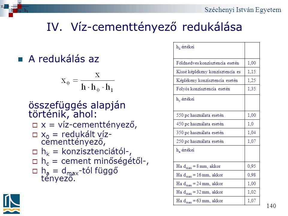 Széchenyi István Egyetem 140 IV. Víz-cementtényező redukálása A redukálás az összefüggés alapján történik, ahol:  x = víz-cementtényező,  x 0 = redu