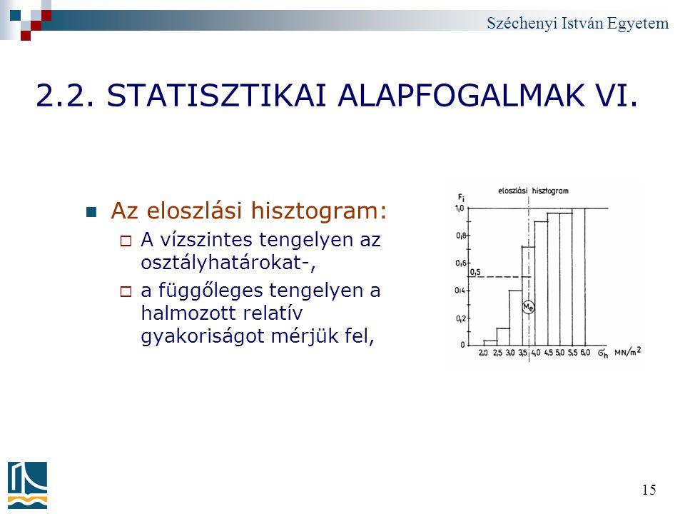 Széchenyi István Egyetem 15 2.2. STATISZTIKAI ALAPFOGALMAK VI. Az eloszlási hisztogram:  A vízszintes tengelyen az osztályhatárokat-,  a függőleges