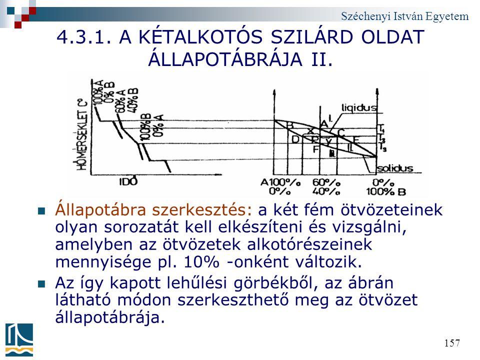 Széchenyi István Egyetem 157 4.3.1. A KÉTALKOTÓS SZILÁRD OLDAT ÁLLAPOTÁBRÁJA II. Állapotábra szerkesztés: a két fém ötvözeteinek olyan sorozatát kell