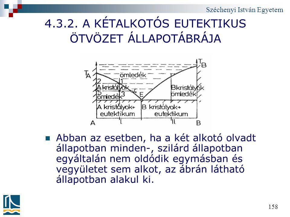 Széchenyi István Egyetem 158 4.3.2. A KÉTALKOTÓS EUTEKTIKUS ÖTVÖZET ÁLLAPOTÁBRÁJA Abban az esetben, ha a két alkotó olvadt állapotban minden-, szilárd