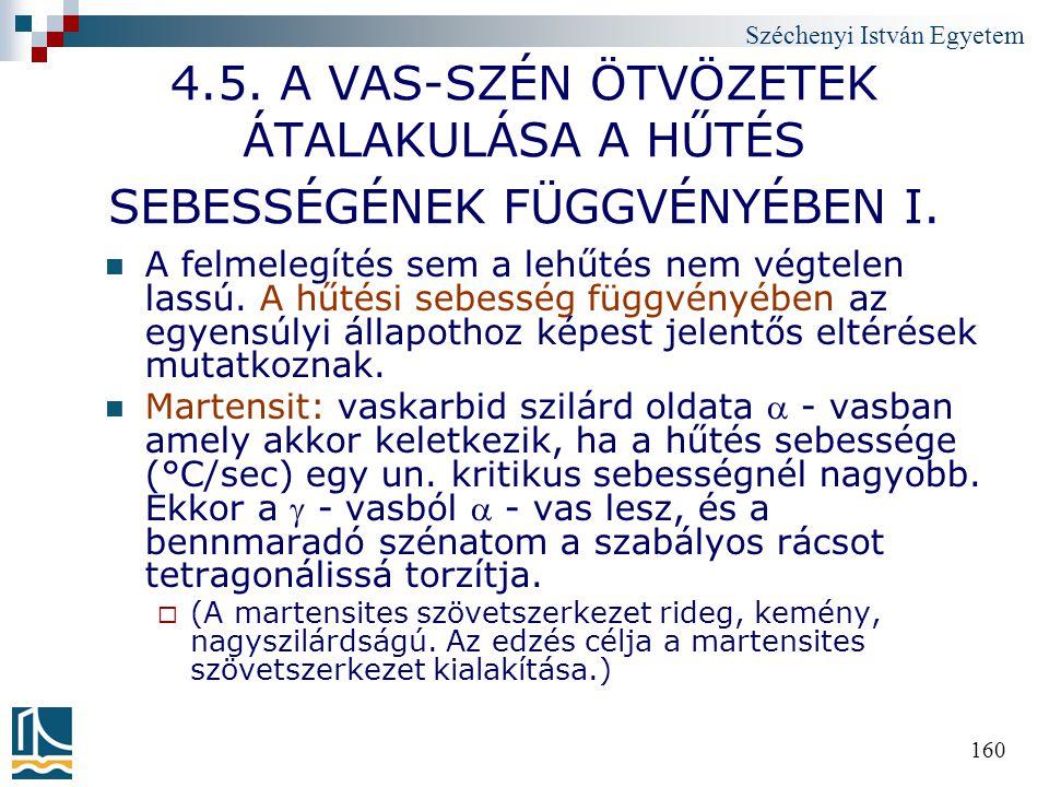 Széchenyi István Egyetem 160 4.5. A VAS-SZÉN ÖTVÖZETEK ÁTALAKULÁSA A HŰTÉS SEBESSÉGÉNEK FÜGGVÉNYÉBEN I. A felmelegítés sem a lehűtés nem végtelen lass