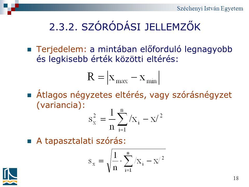 Széchenyi István Egyetem 18 2.3.2. SZÓRÓDÁSI JELLEMZŐK Terjedelem: a mintában előforduló legnagyobb és legkisebb érték közötti eltérés: Átlagos négyze