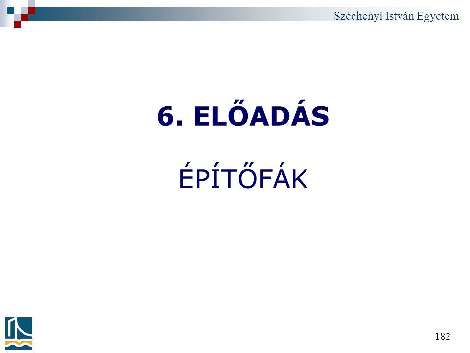 Széchenyi István Egyetem 182 6. ELŐADÁS ÉPÍTŐFÁK