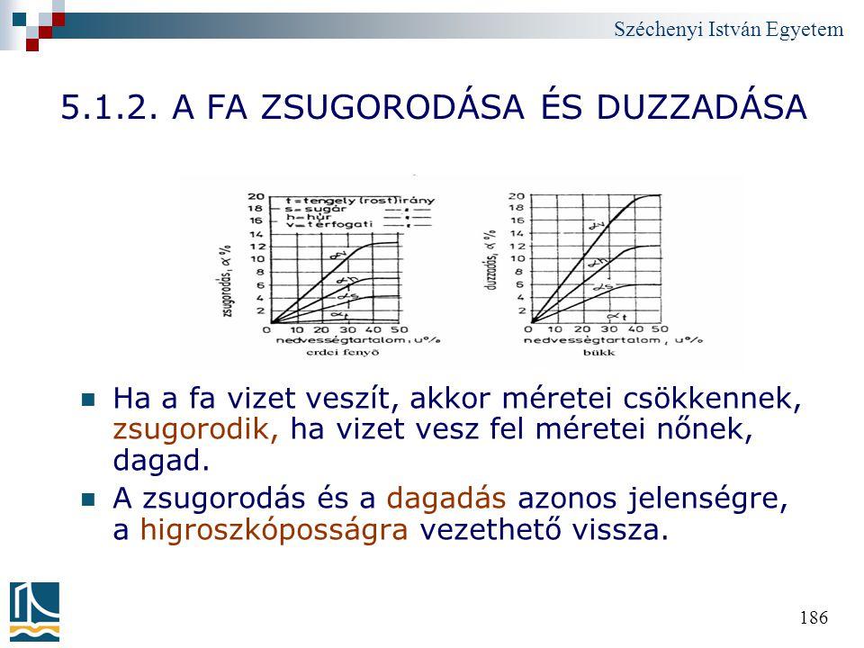 Széchenyi István Egyetem 186 5.1.2. A FA ZSUGORODÁSA ÉS DUZZADÁSA Ha a fa vizet veszít, akkor méretei csökkennek, zsugorodik, ha vizet vesz fel mérete