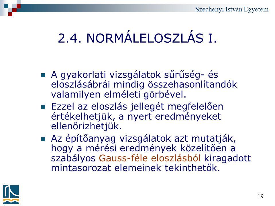 Széchenyi István Egyetem 19 2.4. NORMÁLELOSZLÁS I. A gyakorlati vizsgálatok sűrűség- és eloszlásábrái mindig összehasonlítandók valamilyen elméleti gö