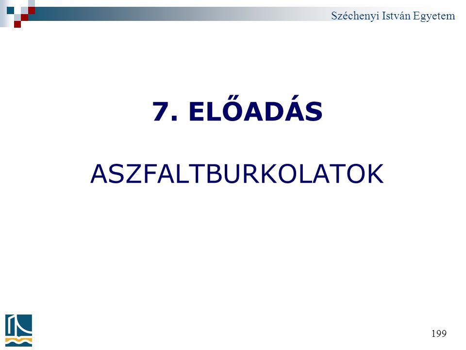 Széchenyi István Egyetem 199 7. ELŐADÁS ASZFALTBURKOLATOK