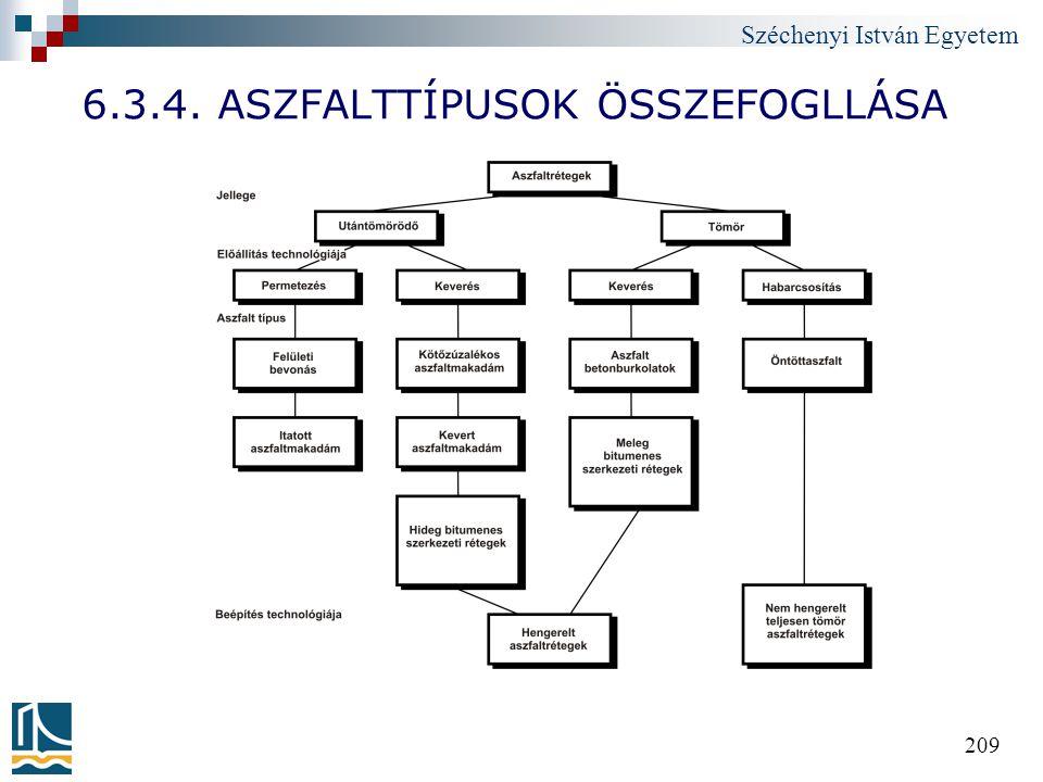 Széchenyi István Egyetem 209 6.3.4. ASZFALTTÍPUSOK ÖSSZEFOGLLÁSA