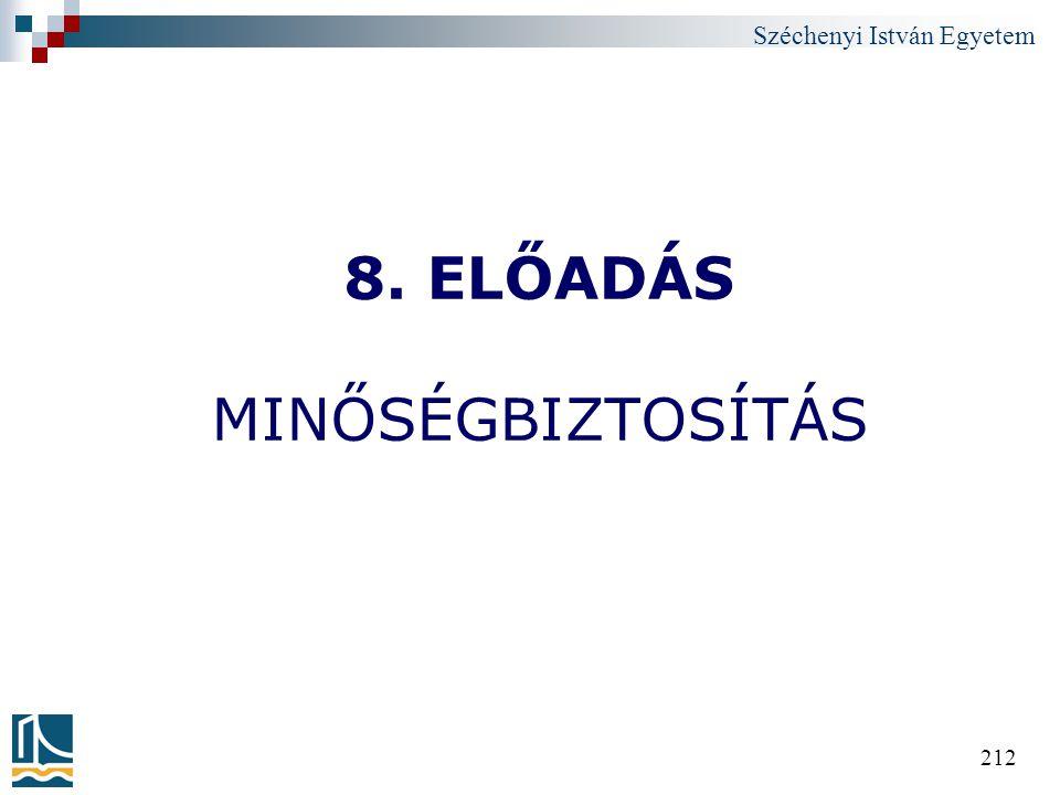 Széchenyi István Egyetem 212 8. ELŐADÁS MINŐSÉGBIZTOSÍTÁS