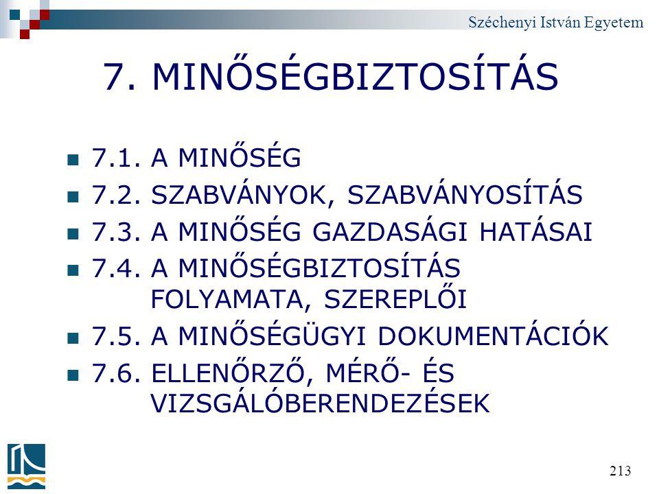 Széchenyi István Egyetem 213 7. MINŐSÉGBIZTOSÍTÁS 7.1. A MINŐSÉG 7.2. SZABVÁNYOK, SZABVÁNYOSÍTÁS 7.3. A MINŐSÉG GAZDASÁGI HATÁSAI 7.4. A MINŐSÉGBIZTOS