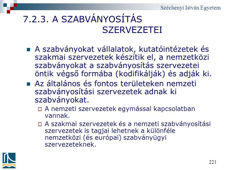 Széchenyi István Egyetem 221 7.2.3. A SZABVÁNYOSÍTÁS SZERVEZETEI A szabványokat vállalatok, kutatóintézetek és szakmai szervezetek készítik el, a nemz