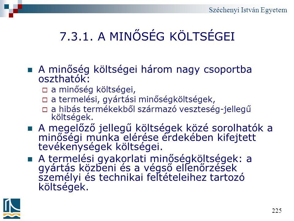 Széchenyi István Egyetem 225 7.3.1. A MINŐSÉG KÖLTSÉGEI A minőség költségei három nagy csoportba oszthatók:  a minőség költségei,  a termelési, gyár