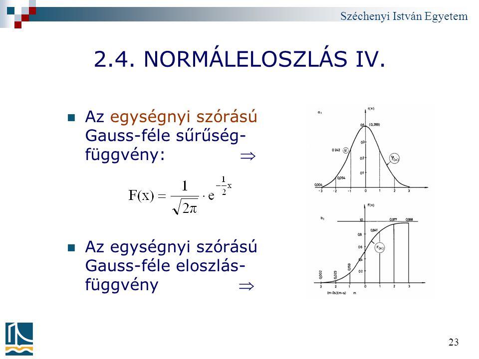 Széchenyi István Egyetem 23 2.4. NORMÁLELOSZLÁS IV. Az egységnyi szórású Gauss-féle sűrűség- függvény:  Az egységnyi szórású Gauss-féle eloszlás- füg