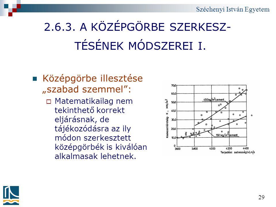 """Széchenyi István Egyetem 29 2.6.3. A KÖZÉPGÖRBE SZERKESZ- TÉSÉNEK MÓDSZEREI I. Középgörbe illesztése """"szabad szemmel"""":  Matematikailag nem tekinthető"""