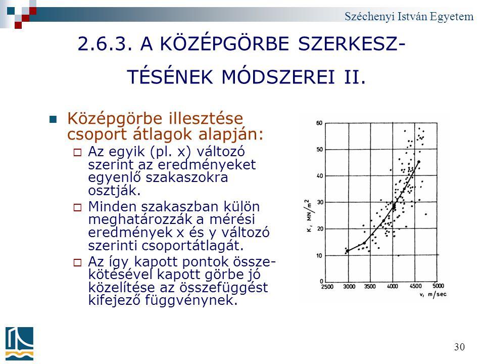 Széchenyi István Egyetem 30 2.6.3. A KÖZÉPGÖRBE SZERKESZ- TÉSÉNEK MÓDSZEREI II. Középgörbe illesztése csoport átlagok alapján:  Az egyik (pl. x) vált
