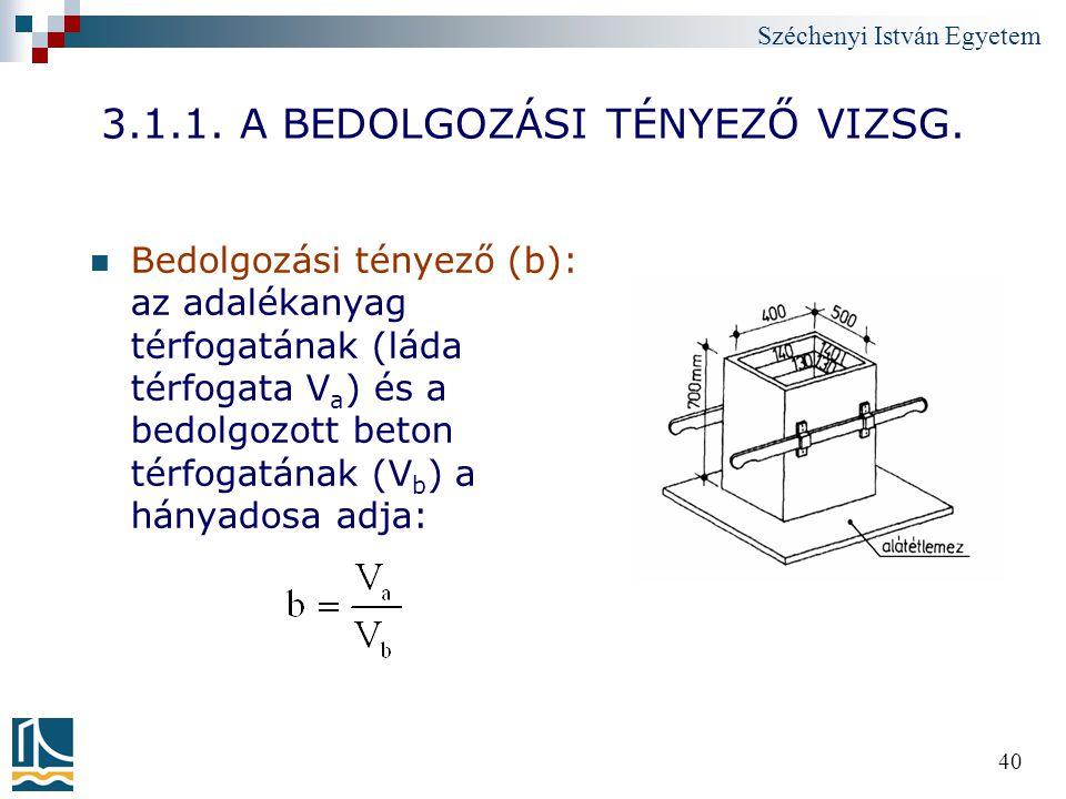 Széchenyi István Egyetem 40 3.1.1. A BEDOLGOZÁSI TÉNYEZŐ VIZSG. Bedolgozási tényező (b): az adalékanyag térfogatának (láda térfogata V a ) és a bedolg