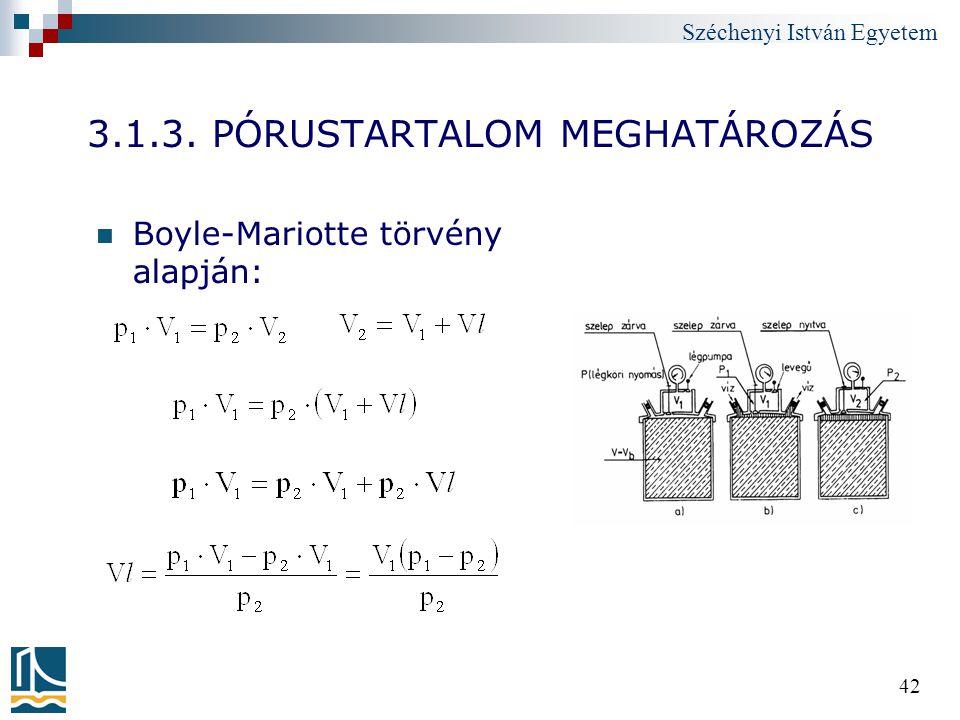 Széchenyi István Egyetem 42 3.1.3. PÓRUSTARTALOM MEGHATÁROZÁS Boyle-Mariotte törvény alapján: