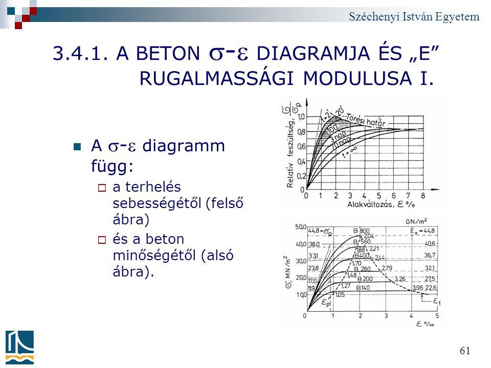 """Széchenyi István Egyetem 61 3.4.1. A BETON - DIAGRAMJA ÉS """"E"""" RUGALMASSÁGI MODULUSA I. A - diagramm függ:  a terhelés sebességétől (felső ábra) """