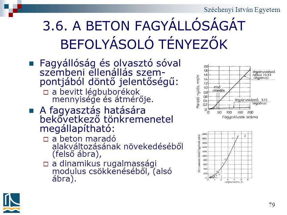 Széchenyi István Egyetem 79 3.6. A BETON FAGYÁLLÓSÁGÁT BEFOLYÁSOLÓ TÉNYEZŐK Fagyállóság és olvasztó sóval szembeni ellenállás szem- pontjából döntő je