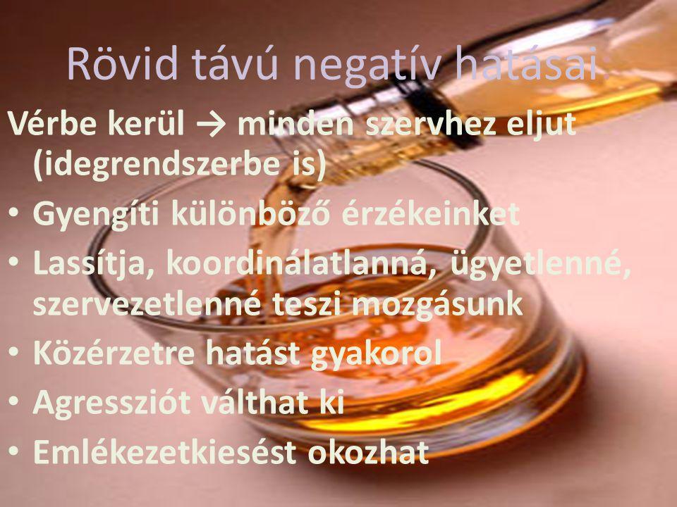 Rövid távú negatív hatásai: Vérbe kerül → minden szervhez eljut (idegrendszerbe is) Gyengíti különböző érzékeinket Lassítja, koordinálatlanná, ügyetle