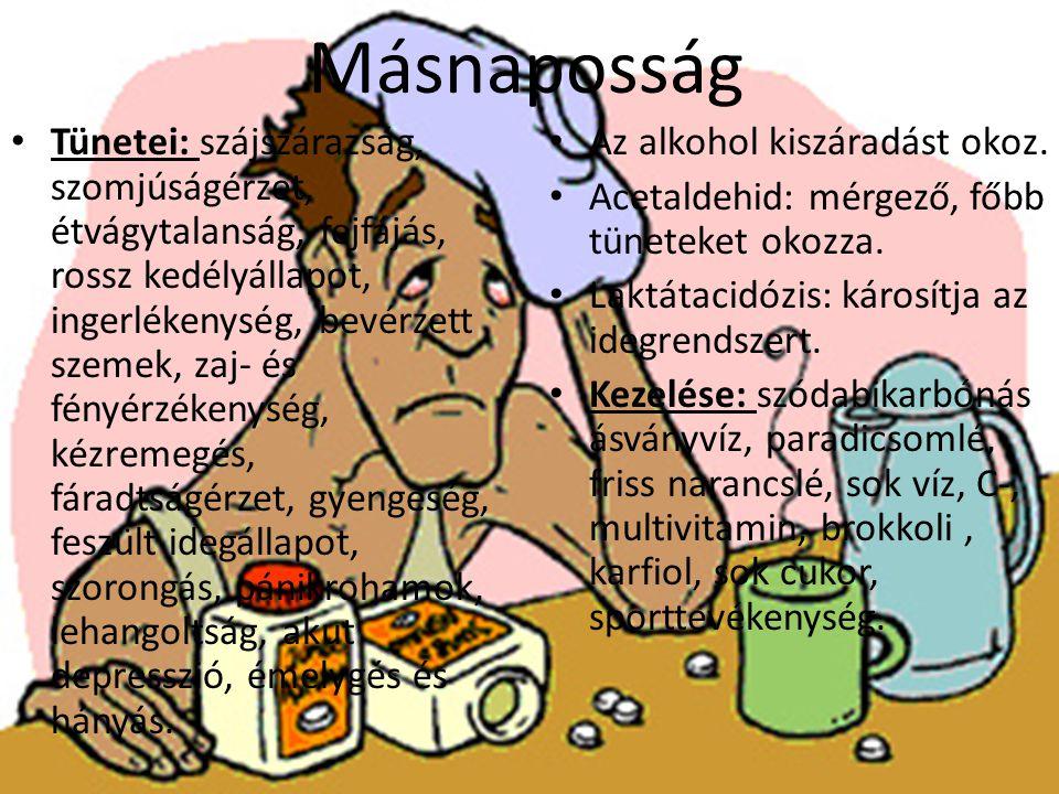 Másnaposság Tünetei: szájszárazság, szomjúságérzet, étvágytalanság, fejfájás, rossz kedélyállapot, ingerlékenység, bevérzett szemek, zaj- és fényérzékenység, kézremegés, fáradtságérzet, gyengeség, feszült idegállapot, szorongás, pánikrohamok, lehangoltság, akut depresszió, émelygés és hányás.