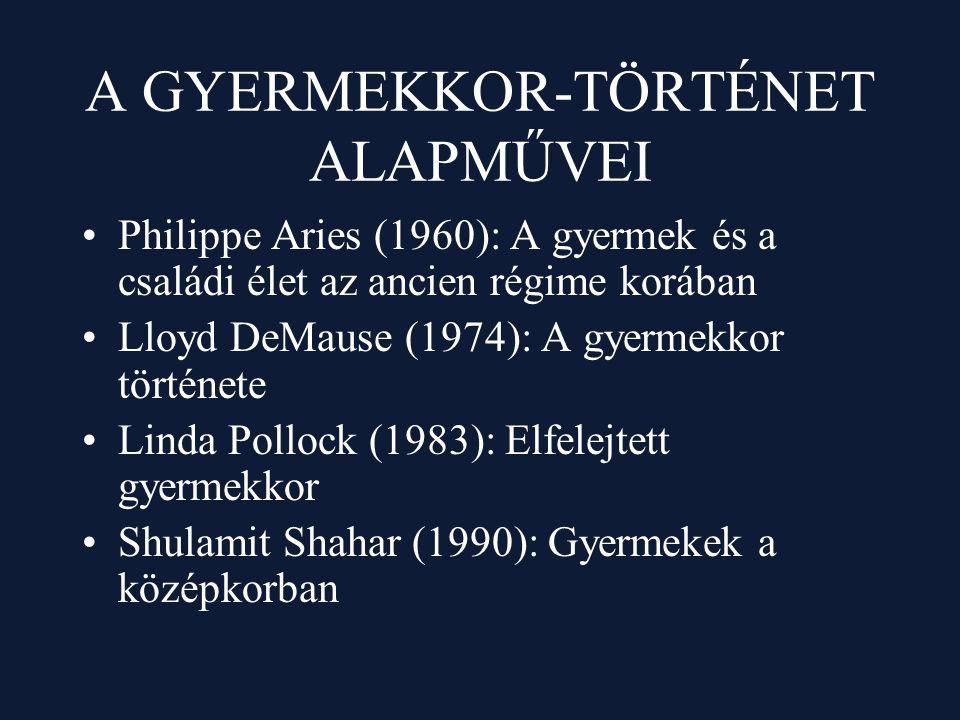 A GYERMEKKOR-TÖRTÉNET ALAPMŰVEI Philippe Aries (1960): A gyermek és a családi élet az ancien régime korában Lloyd DeMause (1974): A gyermekkor történe