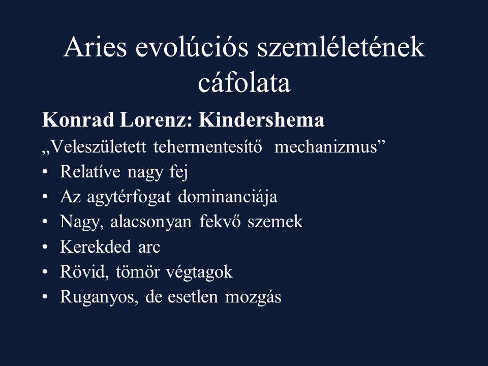 """Aries evolúciós szemléletének cáfolata Konrad Lorenz: Kindershema """"Veleszületett tehermentesítő mechanizmus"""" Relatíve nagy fej Az agytérfogat dominanc"""