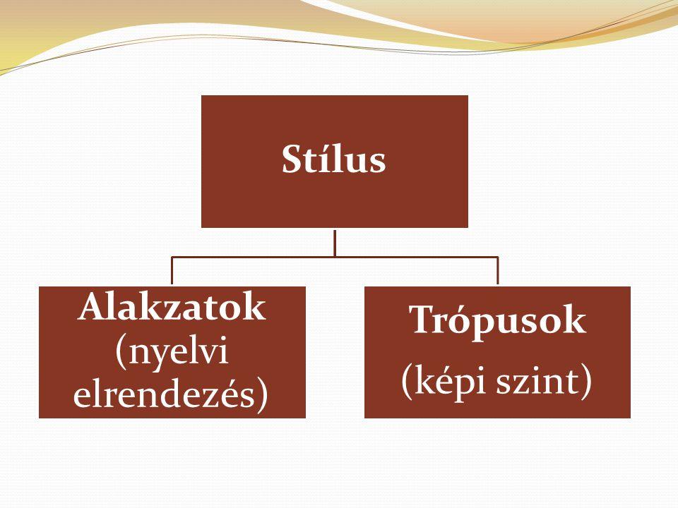 Stílus Alakzatok (nyelvi elrendezés) Trópusok (képi szint)