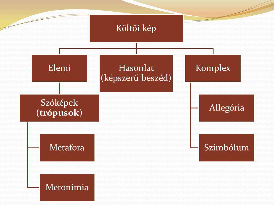 Költői kép Elemi Szóképek (trópusok) Metafora Metonimia Hasonlat (képszerű beszéd) Komplex Allegória Szimbólum