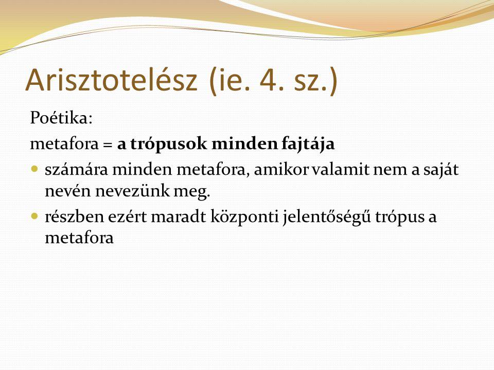 Arisztotelész (ie. 4. sz.) Poétika: metafora = a trópusok minden fajtája számára minden metafora, amikor valamit nem a saját nevén nevezünk meg. részb