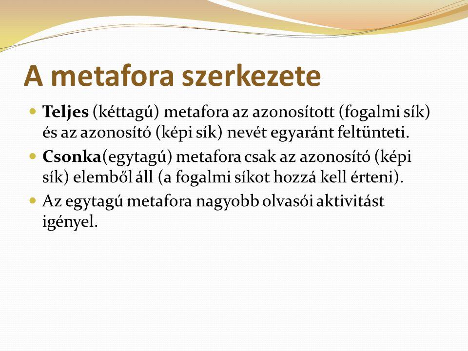 A metafora szerkezete Teljes (kéttagú) metafora az azonosított (fogalmi sík) és az azonosító (képi sík) nevét egyaránt feltünteti. Csonka(egytagú) met
