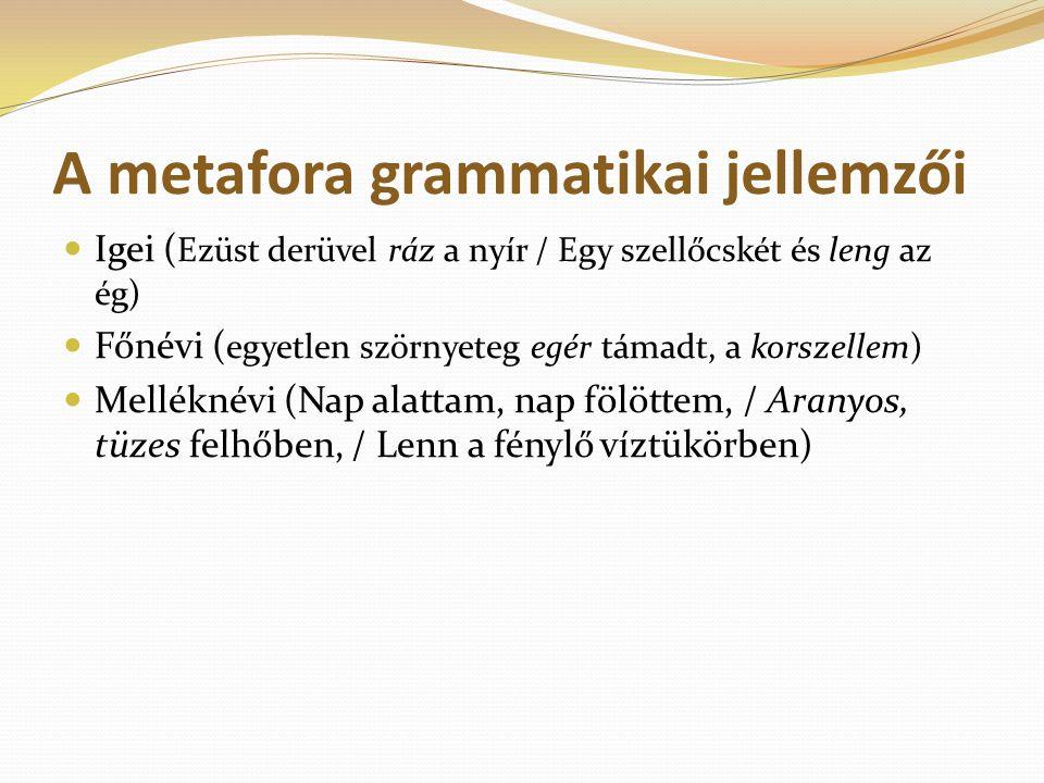 A metafora grammatikai jellemzői Igei ( Ezüst derüvel ráz a nyír / Egy szellőcskét és leng az ég) Főnévi ( egyetlen szörnyeteg egér támadt, a korszell