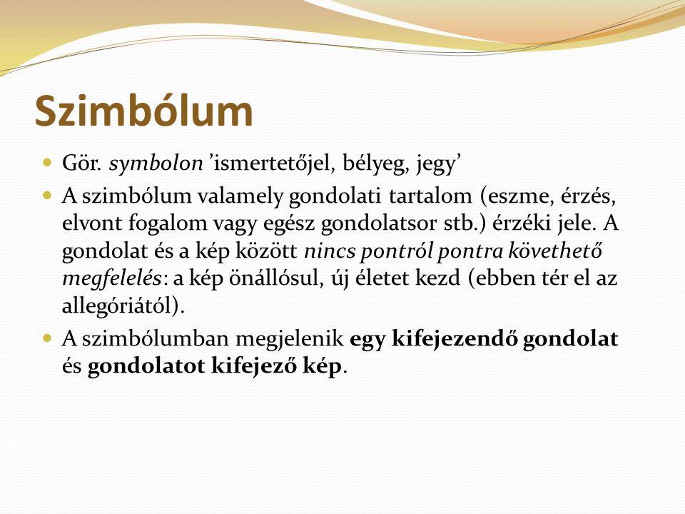 Szimbólum Gör. symbolon 'ismertetőjel, bélyeg, jegy' A szimbólum valamely gondolati tartalom (eszme, érzés, elvont fogalom vagy egész gondolatsor stb.
