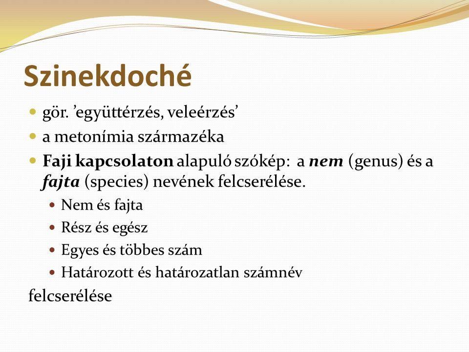 Szinekdoché gör. 'együttérzés, veleérzés' a metonímia származéka Faji kapcsolaton alapuló szókép: a nem (genus) és a fajta (species) nevének felcserél