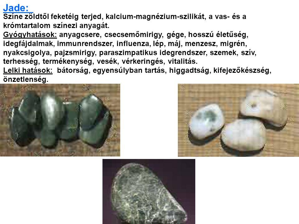 Színe zöldtől feketéig terjed, kalcium-magnézium-szilikát, a vas- és a krómtartalom színezi anyagát.