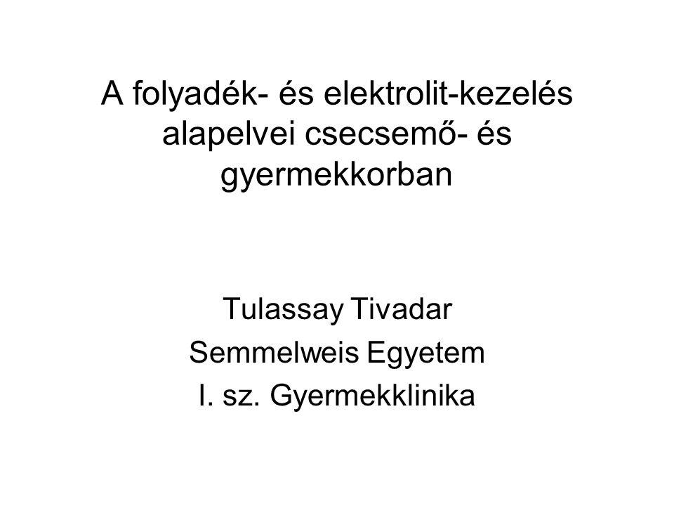Rehydratios folyadék összetétele WHO 1975 WHO 2002ESPGAN Na (mmol/l)907560 K (mmol/l)202020 Cl (mmol/l)806560 HCO 3 (mmol/l)303030 Glucose (g/l)2013.516 Osm (mosm/l)311245240