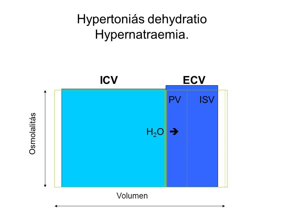 Hypertoniás dehydratio Hypernatraemia. ICVECV PVISV Osmolalitás Volumen H 2 O 