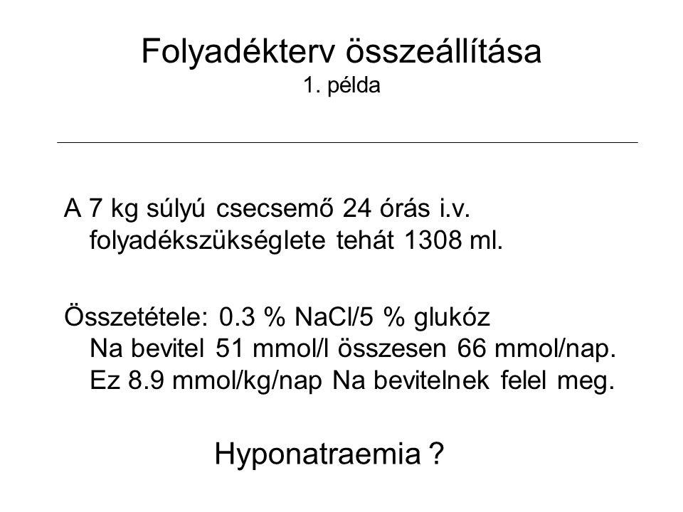 Folyadékterv összeállítása 1. példa A 7 kg súlyú csecsemő 24 órás i.v. folyadékszükséglete tehát 1308 ml. Összetétele: 0.3 % NaCl/5 % glukóz Na bevite