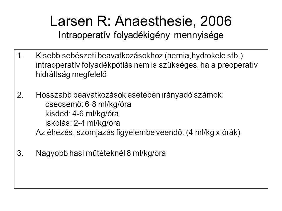 Larsen R: Anaesthesie, 2006 Intraoperatív folyadékigény mennyisége 1.Kisebb sebészeti beavatkozásokhoz (hernia,hydrokele stb.) intraoperatív folyadékp
