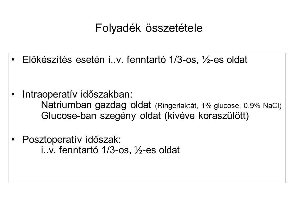 Folyadék összetétele Előkészítés esetén i..v. fenntartó 1/3-os, ½-es oldat Intraoperatív időszakban: Natriumban gazdag oldat (Ringerlaktát, 1% glucose