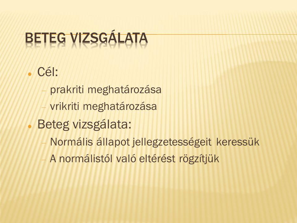 Cél:  prakriti meghatározása  vrikriti meghatározása Beteg vizsgálata:  Normális állapot jellegzetességeit keressük  A normálistól való eltérést r