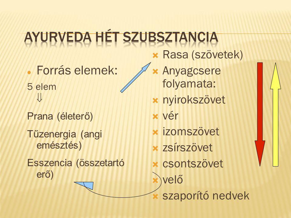 Forrás elemek: 5 elem  Prana (életerő) Tűzenergia (angi emésztés) Esszencia (összetartó erő)  Rasa (szövetek)  Anyagcsere folyamata:  nyirokszövet