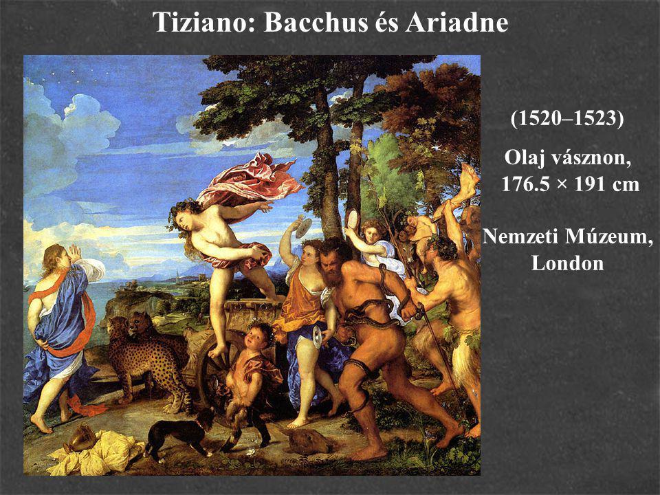 Tiziano: Bacchus és Ariadne (1520–1523) Olaj vásznon, 176.5 × 191 cm Nemzeti Múzeum, London