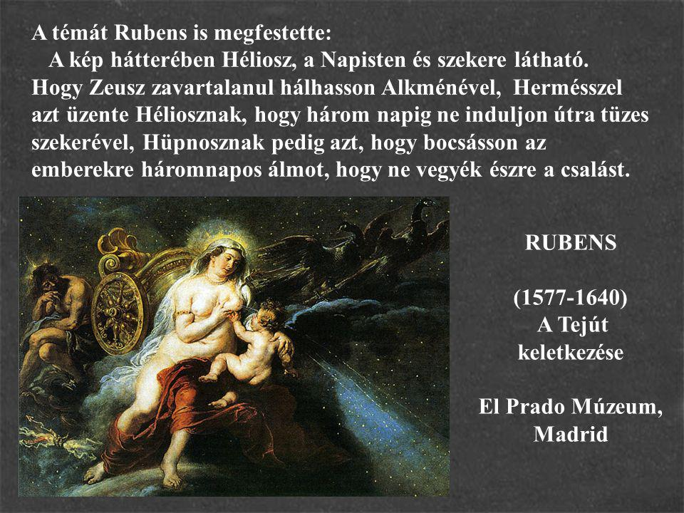 A témát Rubens is megfestette: A kép hátterében Héliosz, a Napisten és szekere látható. Hogy Zeusz zavartalanul hálhasson Alkménével, Hermésszel azt ü