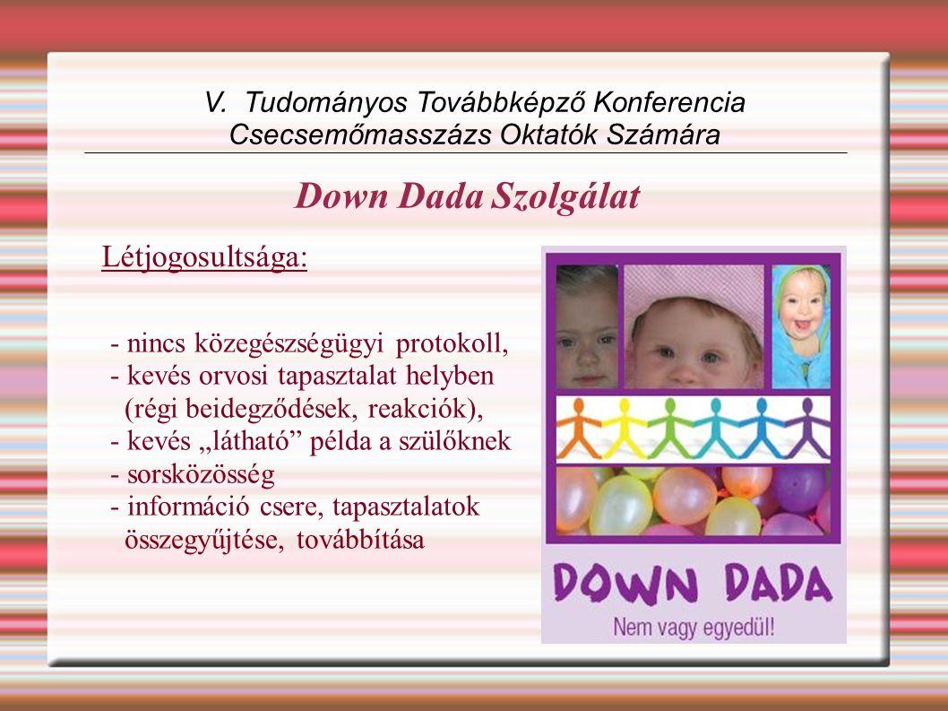 Down Dada Szolgálat V. Tudományos Továbbképző Konferencia Csecsemőmasszázs Oktatók Számára Létjogosultsága: - nincs közegészségügyi protokoll, - kevés
