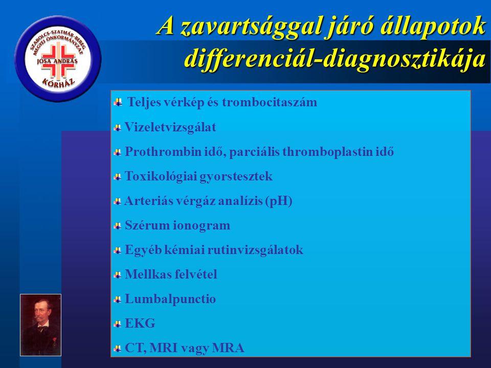 A zavartsággal járó állapotok differenciál-diagnosztikája Teljes vérkép és trombocitaszám Vizeletvizsgálat Prothrombin idő, parciális thromboplastin idő Toxikológiai gyorstesztek Arteriás vérgáz analízis (pH) Szérum ionogram Egyéb kémiai rutinvizsgálatok Mellkas felvétel Lumbalpunctio EKG CT, MRI vagy MRA