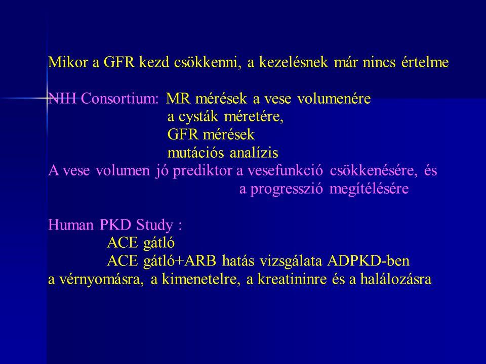 Mikor a GFR kezd csökkenni, a kezelésnek már nincs értelme NIH Consortium: MR mérések a vese volumenére a cysták méretére, GFR mérések mutációs analíz